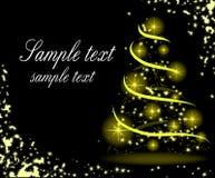 Christmas postcard with gold fir tree. The Christmas postcard with gold fir tree Royalty Free Stock Photos