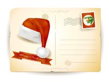Christmas postcard with hat Royalty Free Stock Images