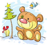 Christmas postcard illustration with bear Stock Image