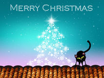 Christmas postcard. Illustration of cat on roof at Christmas Stock Images