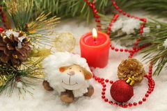 Christmas postcard with New Year sheep royalty free stock photography