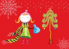 Christmas postcard with nice girl. Vector nice girl and Christmas tree Stock Image