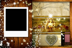 Christmas postcard with one frame for photo Stock Image