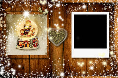 Christmas postcard with one frame for photo Royalty Free Stock Photos