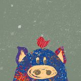 Christmas postcard with pig royalty free stock image