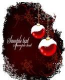 Christmas postcard with red balls and snow Stock Image