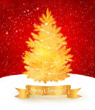 Christmas postcard in red and gold colors Royalty Free Stock Photography