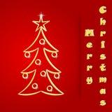 Christmas postcard. Red Christmas postcard with Christmas tree Stock Photo