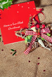 Christmas postcard with rustic decoration Stock Images