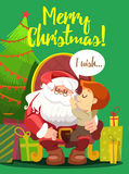 Christmas postcard with santa in armchair holding little boy Royalty Free Stock Image