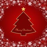 Christmas postcard with snowflakes Stock Photos