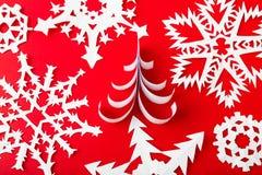 Christmas postcard with snowflakes and christmas tree. Royalty Free Stock Photo