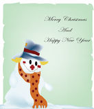 Christmas postcard with snowman Stock Photo