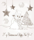 Christmas postcard with snowman and fir. Hand drawn christmas scene with fir and snowman Stock Photos