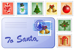 Christmas postcard and stamps. Royalty Free Stock Image