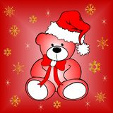 Christmas postcard with teddy bear Royalty Free Stock Photography