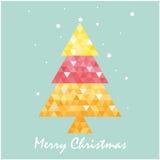 Christmas postcard template with christmas tree . Stock Image