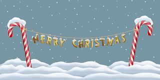 Christmas postcard template. Merry Christmas golden letters hanging between red candy canes on snowing winter background Royalty Free Stock Image