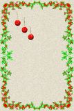 Christmas postcard with three red christmas balls and frame of g stock photography
