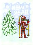 Christmas postcard with tiger Stock Images