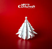 Christmas postcard with true paper christmas tree Stock Photos