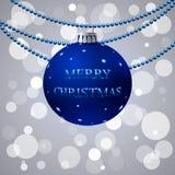 Christmas postcard. Vector blue postcard for christmas Stock Photography