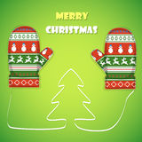 Christmas postcard vector illustration. Merry Christmas greetings  with 2 mittens and lace like a Christmas tree between them Royalty Free Stock Image