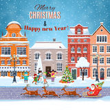 Christmas postcard with vintage street. Happy new year and merry Christmas winter old town street with christmas tree. concept for greeting and postal card Stock Photos