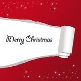 Christmas postcard with wishes. Christmas red background with bright stars Royalty Free Stock Photo