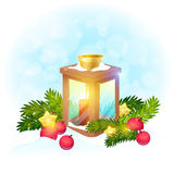 Christmas postcard with xmas lantern with candle Royalty Free Stock Photography