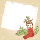 Christmas postcard with xmas stocking Royalty Free Stock Photo