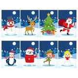 Christmas Postcards Characters. Christmas postcard collection with different cute characters and snow winter background vector illustration