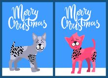 Christmas Postcards with Congratulation and Dogs. Bullterrier with black spots and Chinese crested puppy with pink fur vector illustrations stock illustration