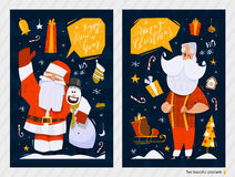 Christmas Postcards. Merry Christmas and Happy New Year postcards royalty free illustration