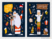 Christmas Postcards. Merry Christmas and Happy New Year postcards vector illustration