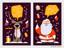 Christmas Postcards. Merry Christmas and Happy New Year postcards stock illustration