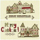 2 Christmas Postcards. With old houses and greetings stock illustration