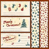 Christmas postcards set. Vector Christmas set of greeting cards and patterns in doodle style stock illustration