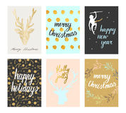 Christmas postcards set. Vector Christmas and New Year cute postcard set. Deer silhoulettes, gold lettering and pastel tones. Merry Christmas Happy New Year stock illustration