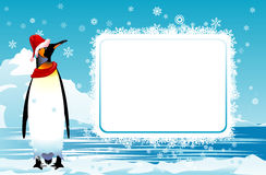 Christmas poster. With a penguin in a red cap and a scarf. A  illustration Stock Photos
