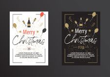 Christmas poster in black and white. Stock Images