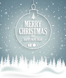 Christmas poster on blue background with snow and tree. Happy New Year message Royalty Free Stock Photography