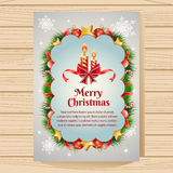 Christmas Poster with Candle. Christmas card with candle,berry, and other decoration item Royalty Free Stock Image