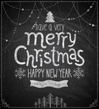 Christmas poster - Chalkboard style. Stock Photography