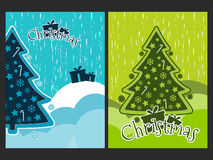 Christmas poster with a Christmas tree and ornaments. New Year celebration collage. Royalty Free Stock Image
