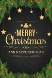 Christmas poster. Christmas tree, snow berries. The golden stars hang. Happy New Year. Gold text on a dark background. With a pattern of snowflakes. Vector Vector Illustration