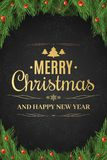 Christmas poster. Christmas tree, snow berries. Happy New Year. Gold text on a dark background with a pattern of Stock Images