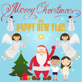 Christmas poster design with Santa Claus, Angel, children Royalty Free Stock Images