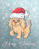 Christmas poster with dog portrait in red Santa s hat and green checkered   Stock Photography