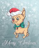 Christmas poster with dog portrait in red Santa s hat and green checkered neckerchief with bow. Stock Images